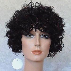Accessories - Short Curly Black Brown Highlighted Heat OK Wig